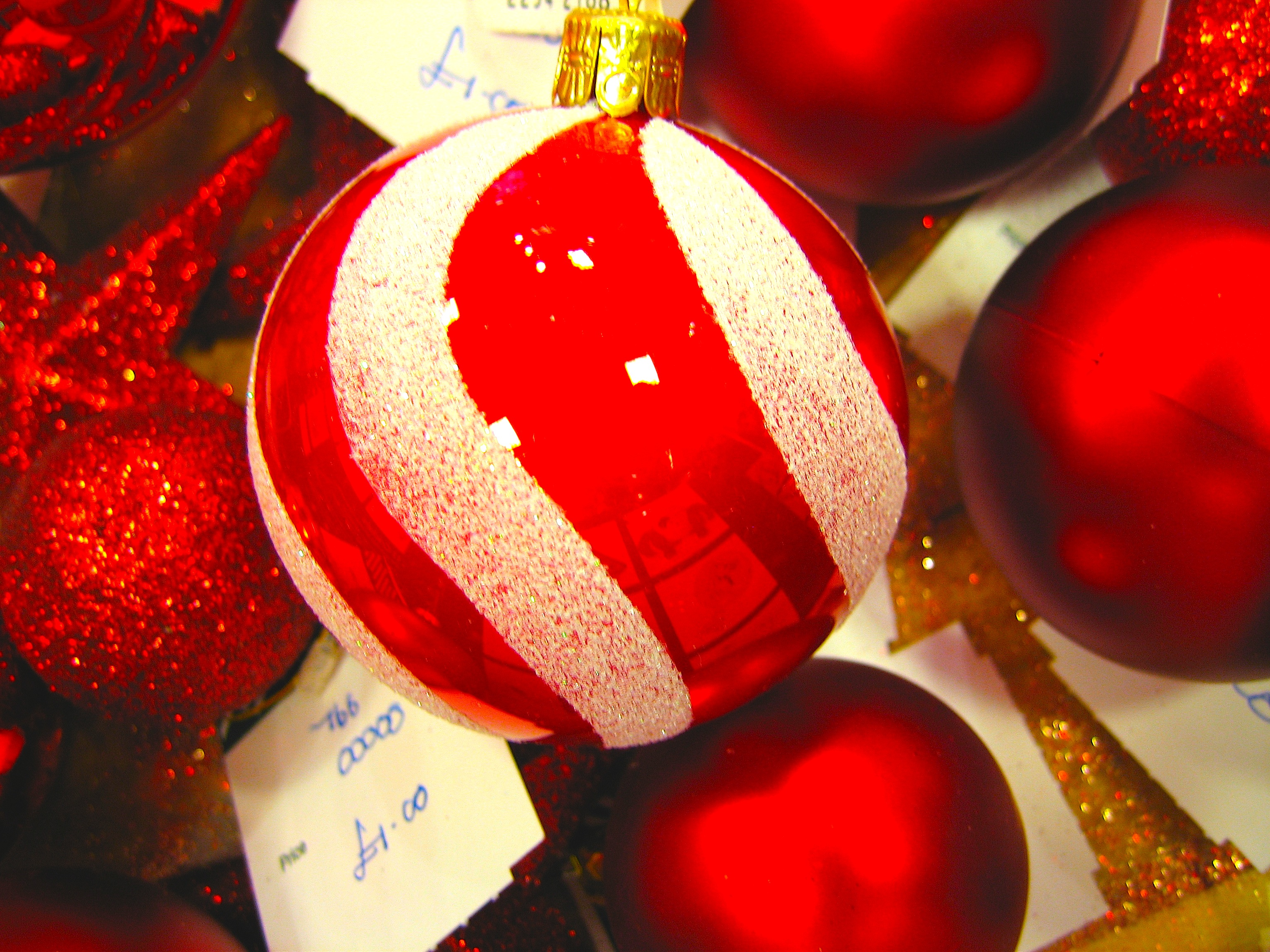 Red glass christmas ornaments -  Baubles Glass Red White Frosted In Shop Christmas Decorations Display Some Shattered And Lonely And Mixed With Rubbish Junk Garbage Tweaked 2 Dhd Jpg