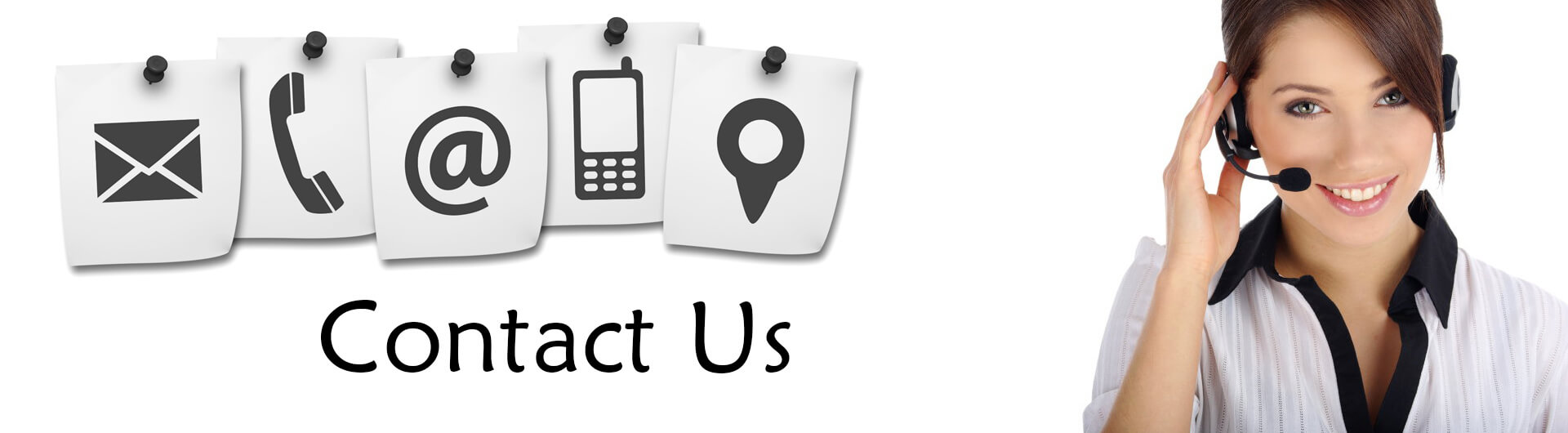 Contact Us Banner - Icons of Contact Methods, Phone Operator Standing By on Right Side