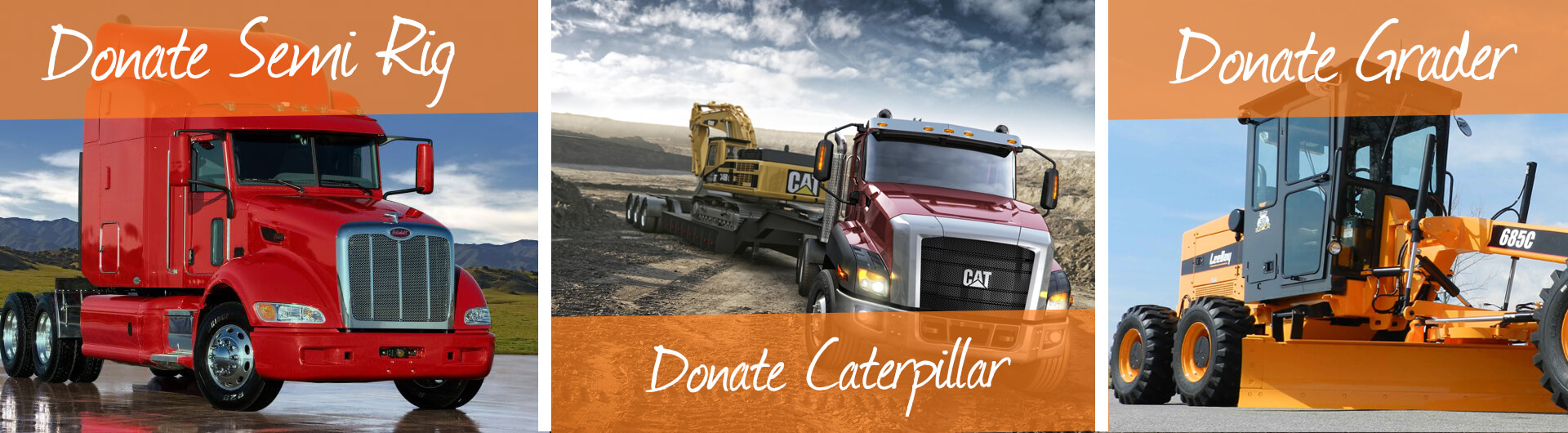 Donate Semi Truck, Caterpillar, Grader Banner