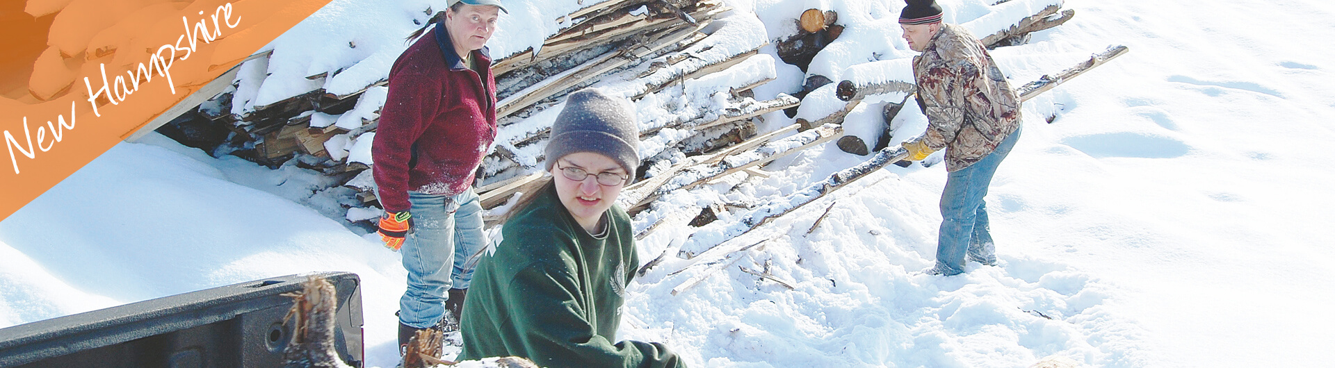 New Hampshire Car Donation Banner | Family Moving Timber in the Snow
