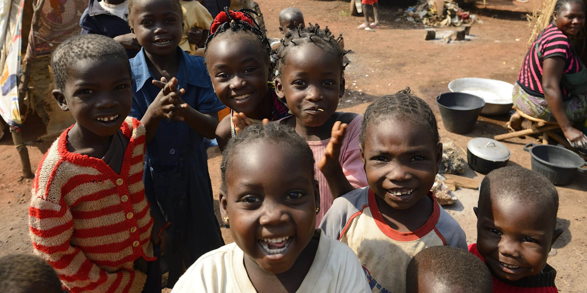 Smiling children from African nation.